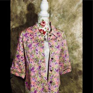 ❤️NWOT❤️ Christopher&Banks Floral DenM Jacket SzXL